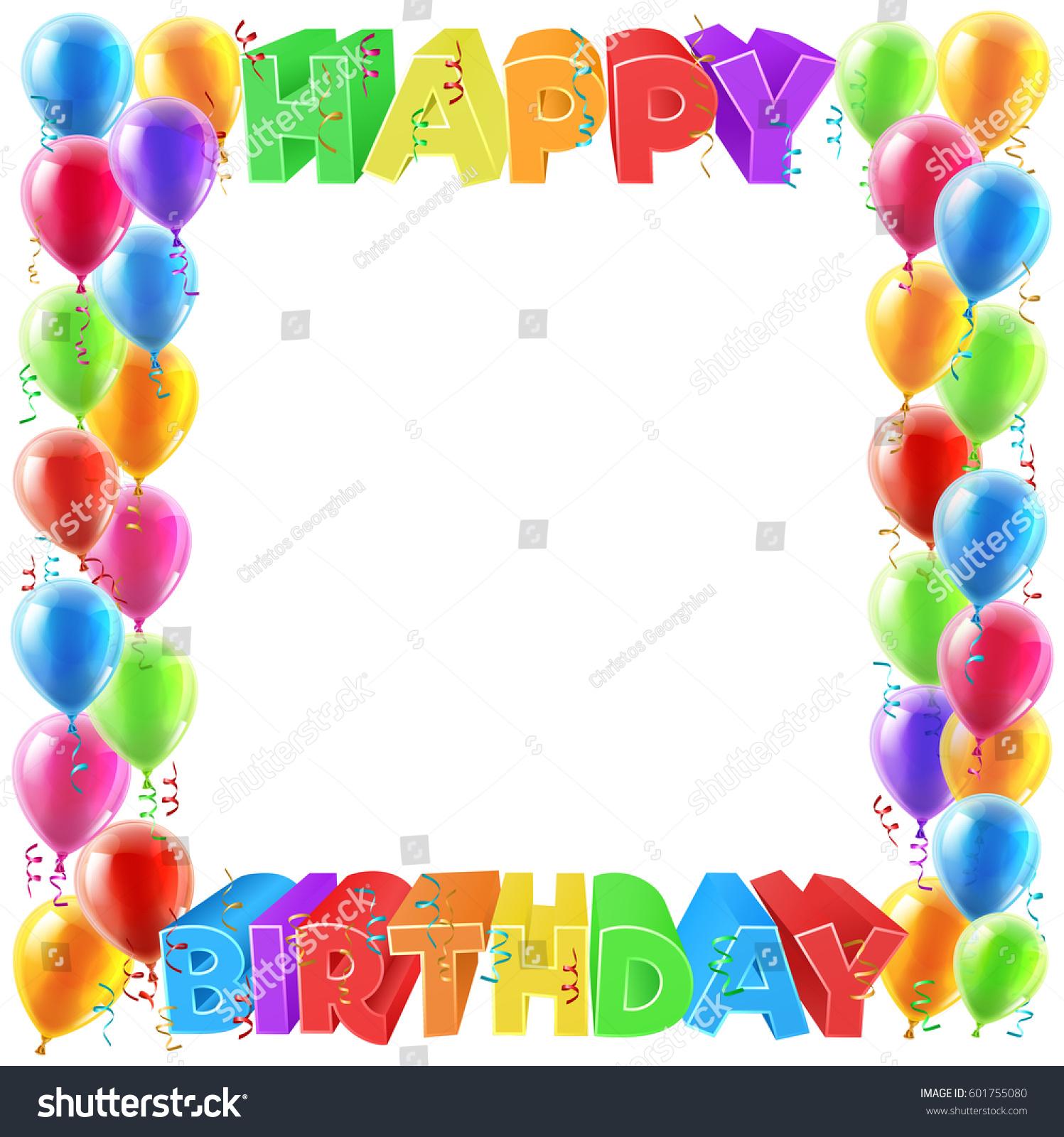 Balloons Happy Birthday Bright Color Word Stock Illustration ...