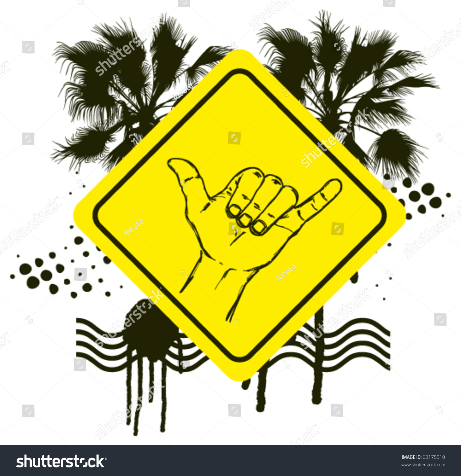 surf hand sign with grunge background stock vector