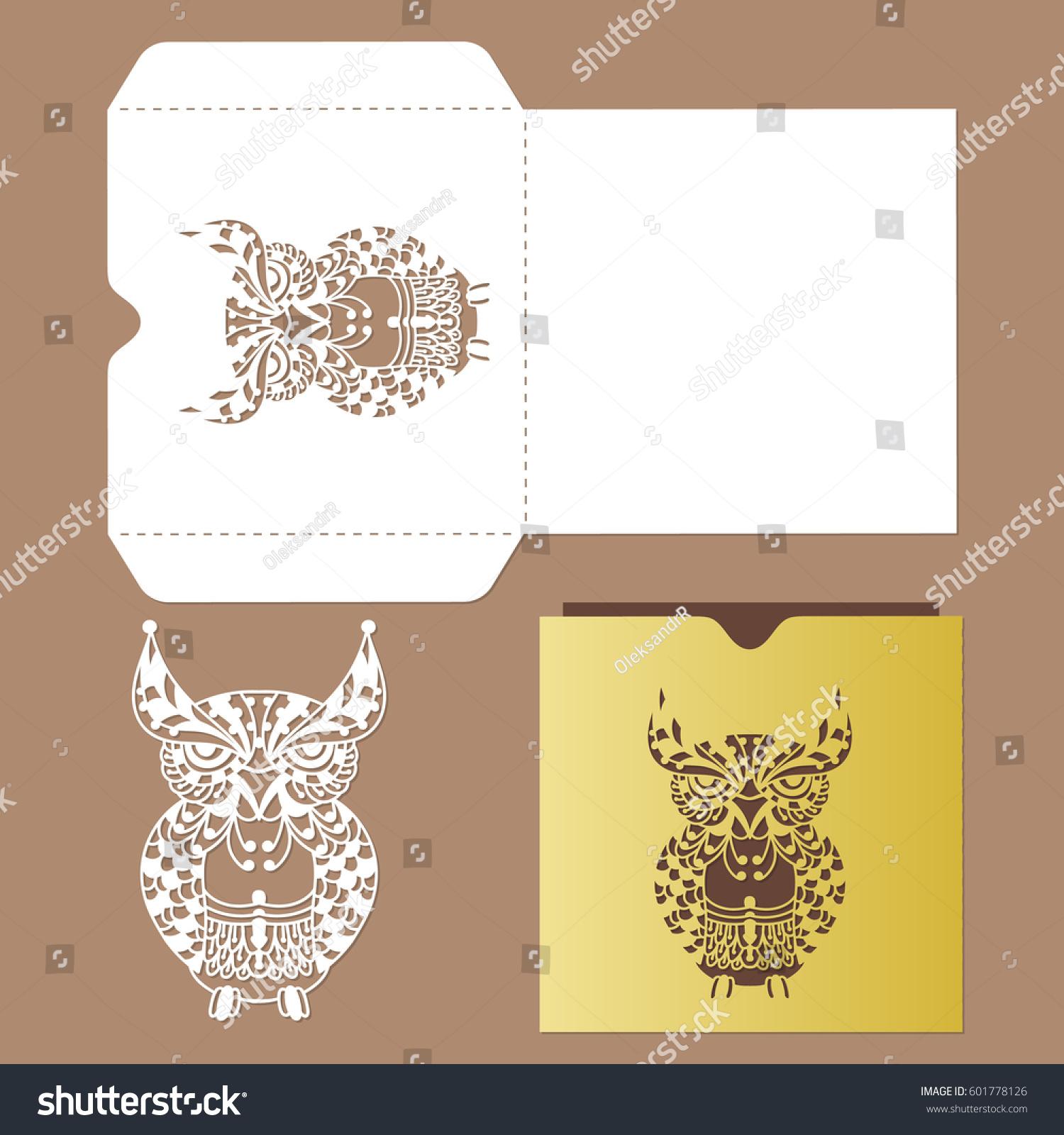owl stencil laser cut template vector stock vector 601778126