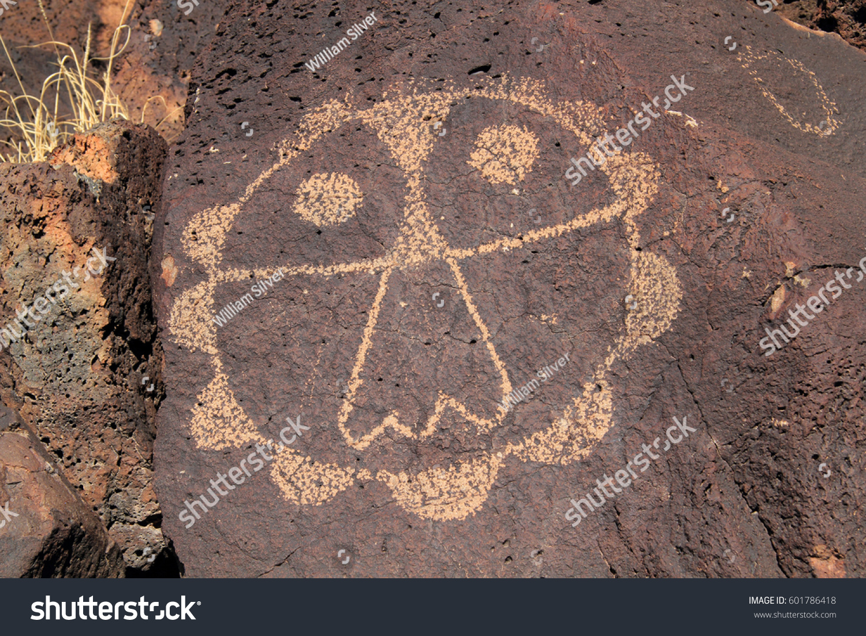 Ancient Native American Rock Art Along Stock Photo Edit Now