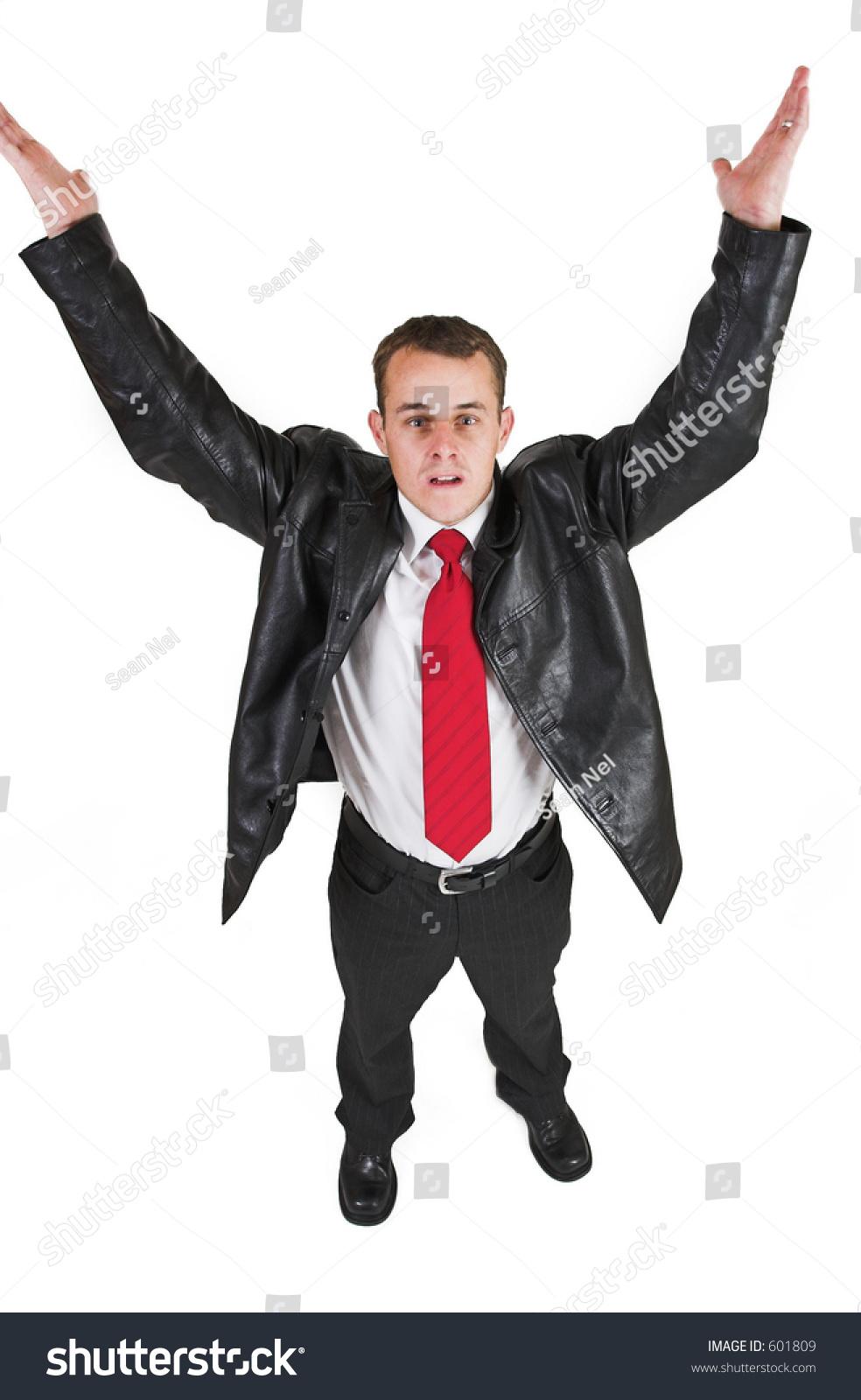 Businessman Black Leather Jacket White Shirt Stock Photo Edit Now