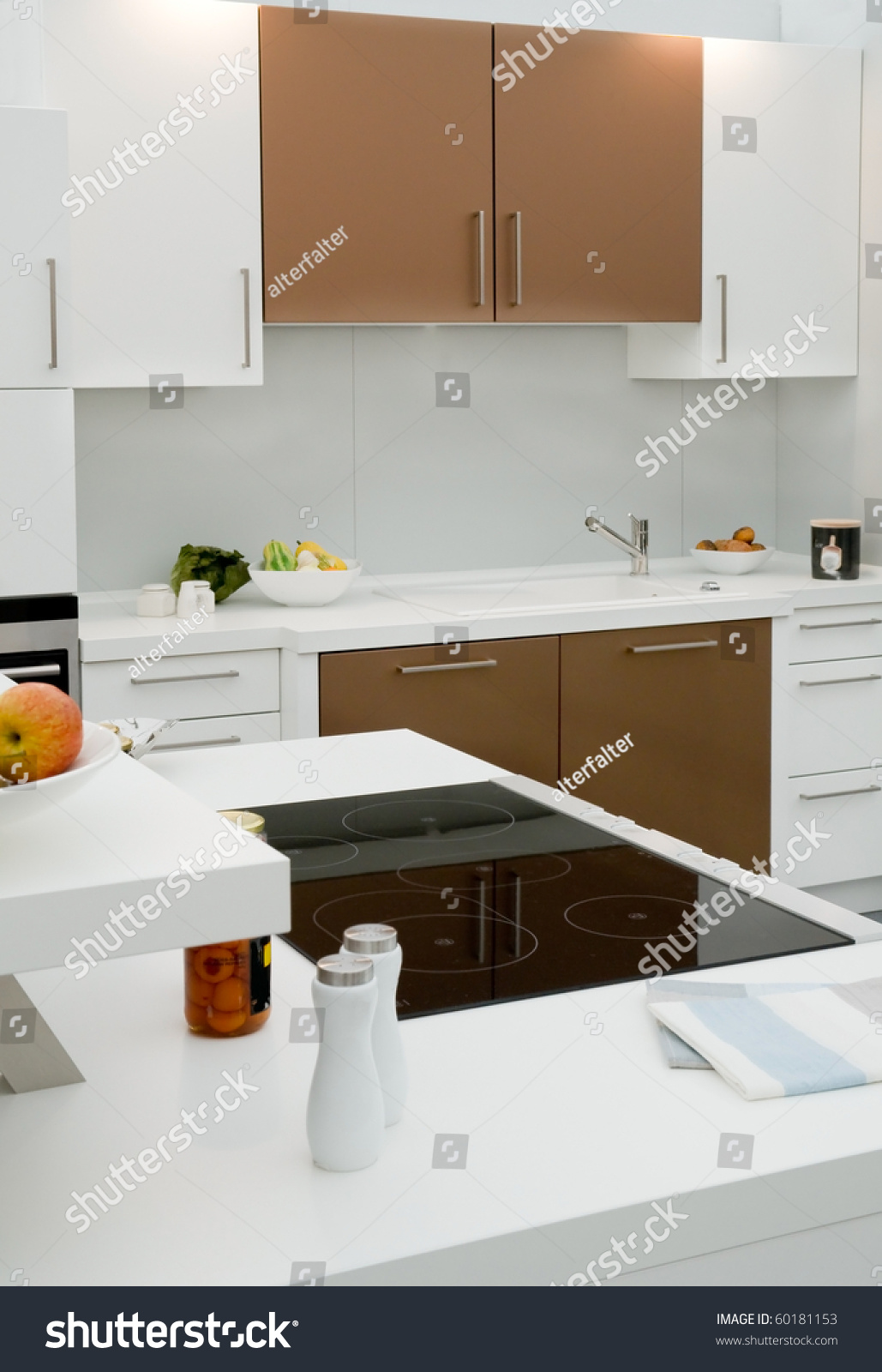 Modern fitted kitchen stock photo 60181153 shutterstock for Modern fitted kitchen