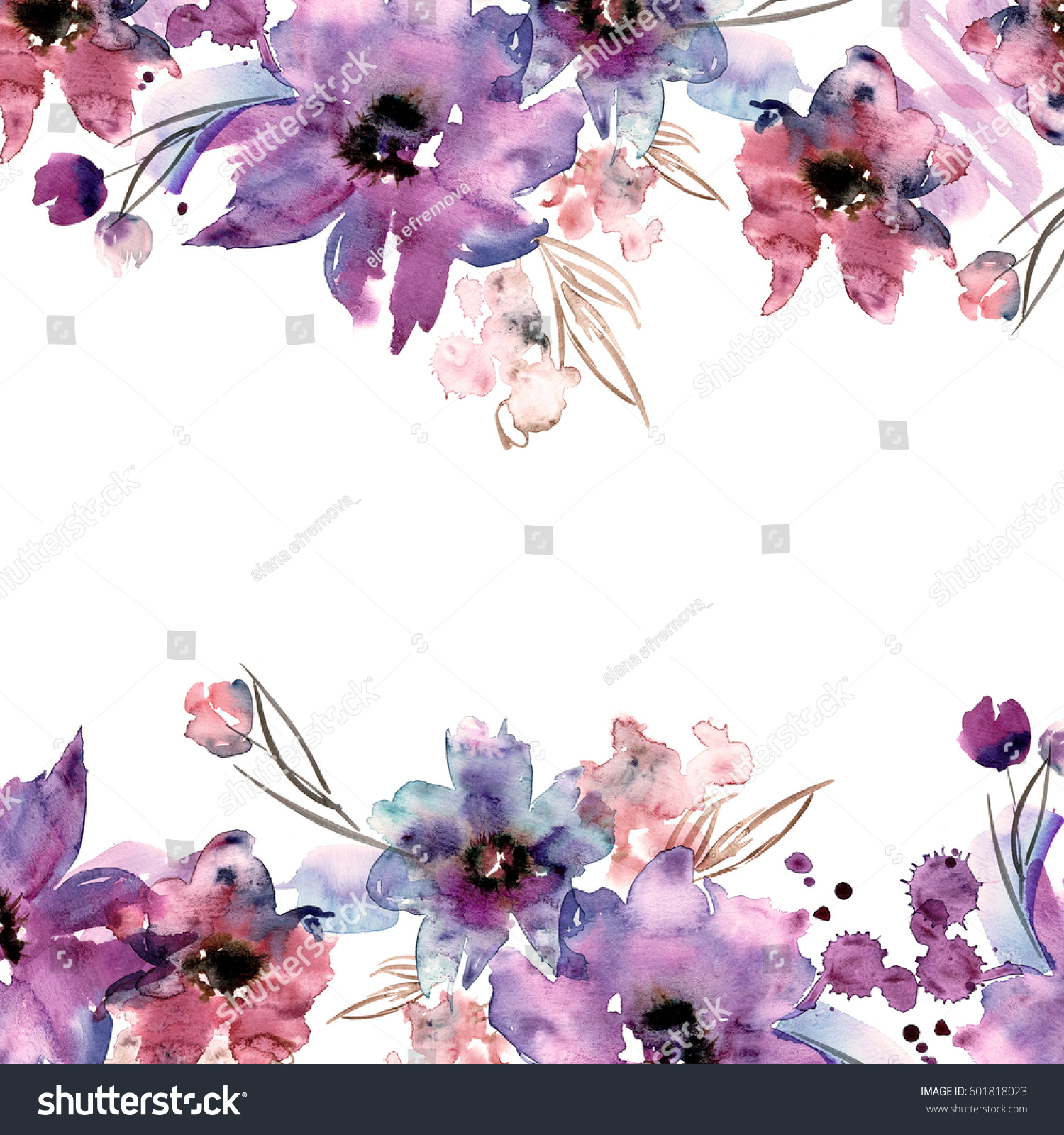 Cute Watercolor Flower Frame Hand Painted Stock Illustration