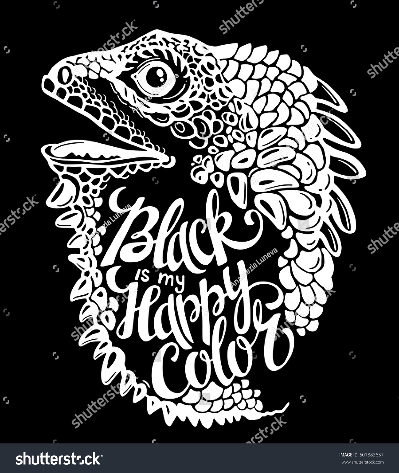T shirt black is my happy color - Vector Iguana With Words Black Is My Happy Color Inspiration Phrase Dragon Animal