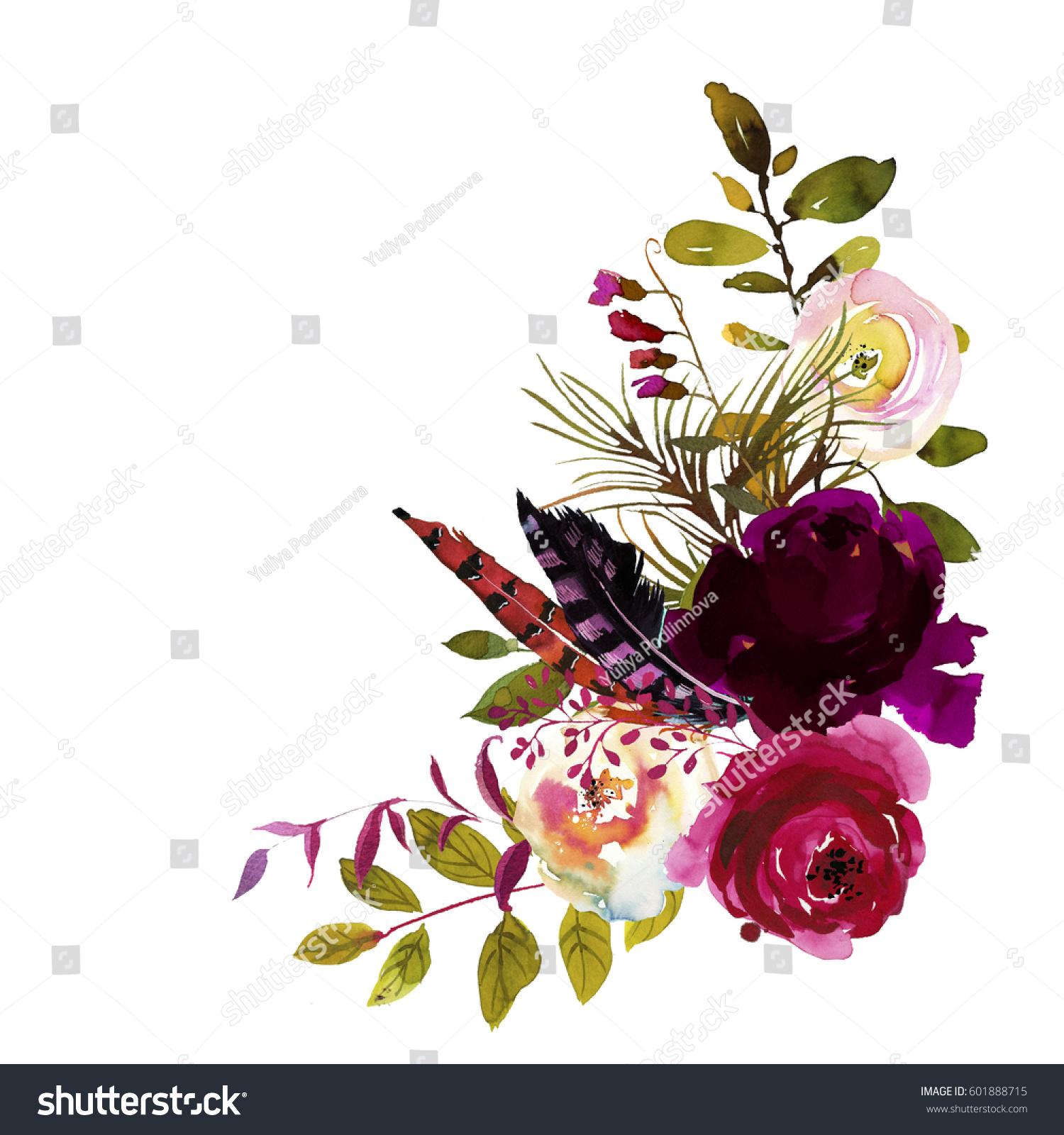 Watercolor Boho Burgundy Magenta White Floral Stock Illustration 601888715
