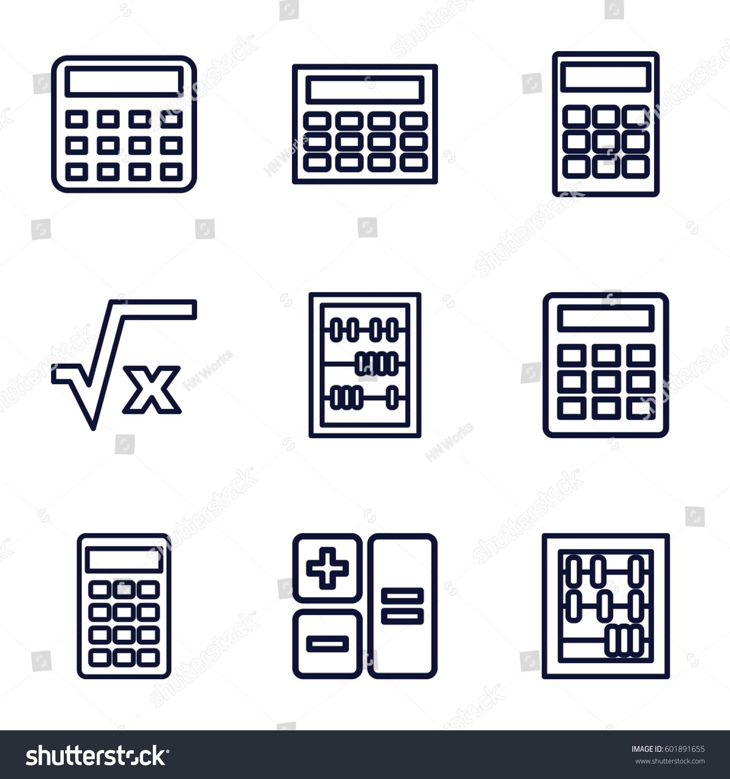 Calculator Icons Set Set 9 Calculator Stock Vector Royalty Free