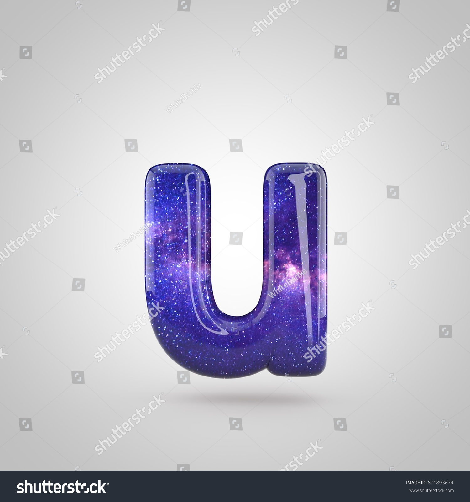 Cosmic Letter U Lowercase 3 D Render Stock Illustration 601893674
