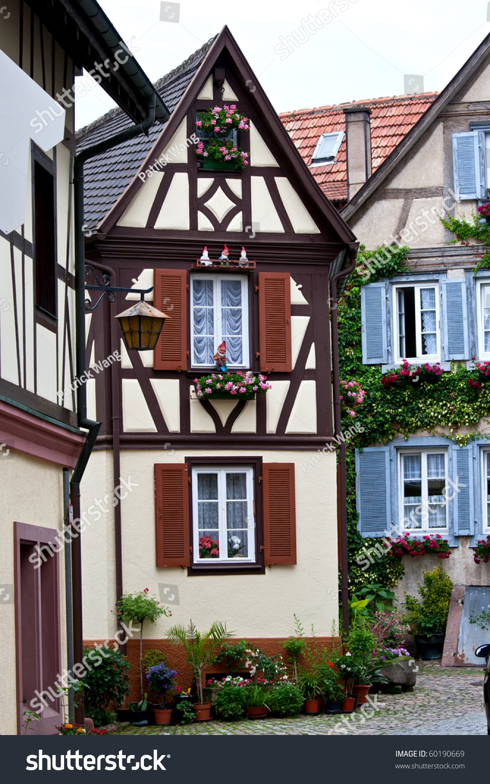 German House Designs: Traditional Old German Houses Timber Framing Stock Photo
