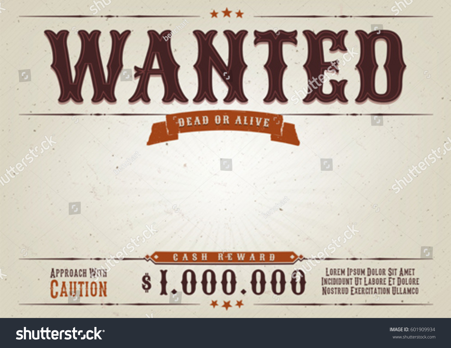 Wanted Western Movie Poster Illustration Vintage Stock Vector (2018 ...