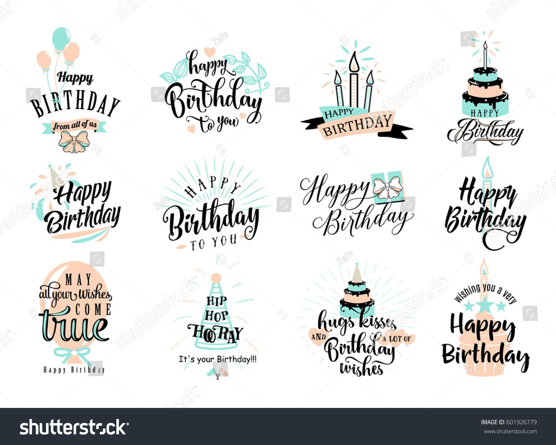 Vector Illustration Of Happy Birthday Badge Set Design Element For Greeting Cards Banner