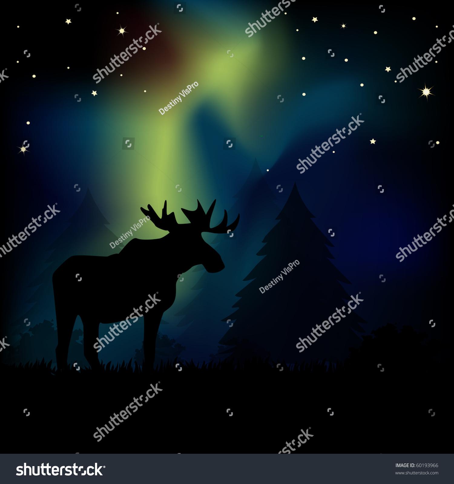 Moose Silhouetted Aurora Borealis Lights Symbol Stock Illustration