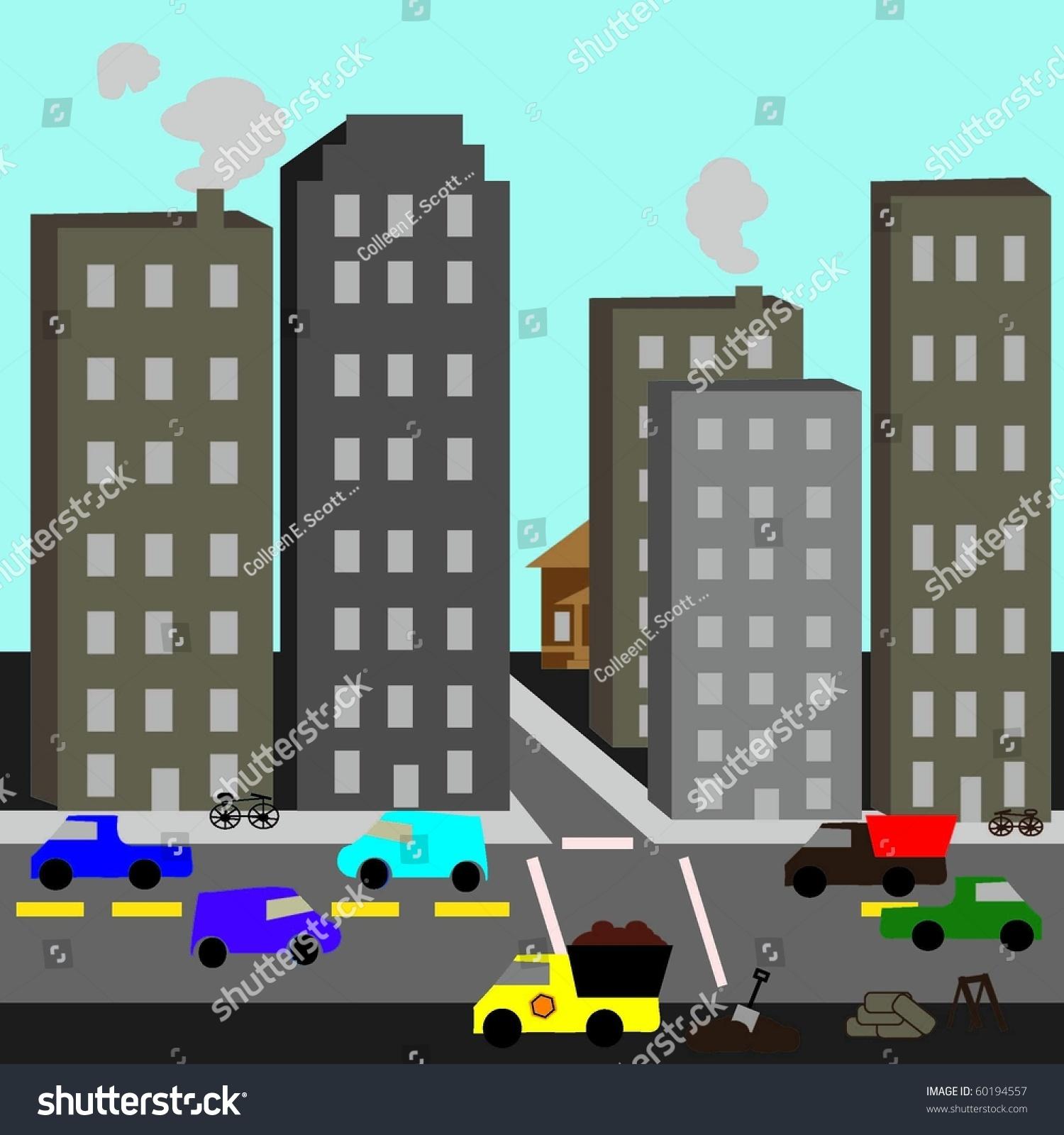 Urban Cartoon Street Scene Stock Vector 60194557