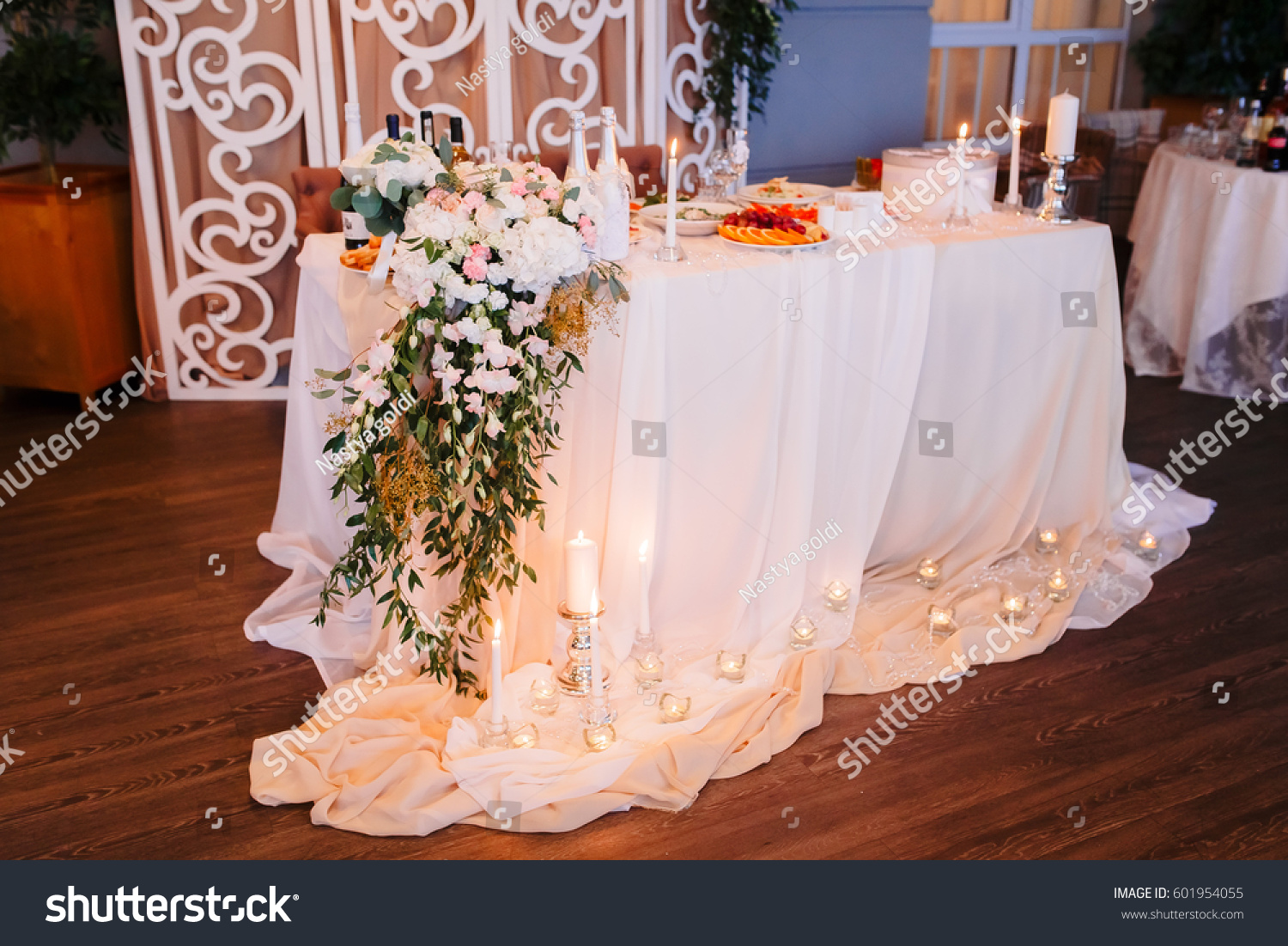 Elegant decorations wedding table lights Modern Wedding In The Style Rustic Table Decoration With Lamps And Candlestick The Elegant Dinner Table Indoors Wedding Reception Venue With Festive Decor Ez Canvas Wedding In The Style Rustic Table Decoration With Lamps And