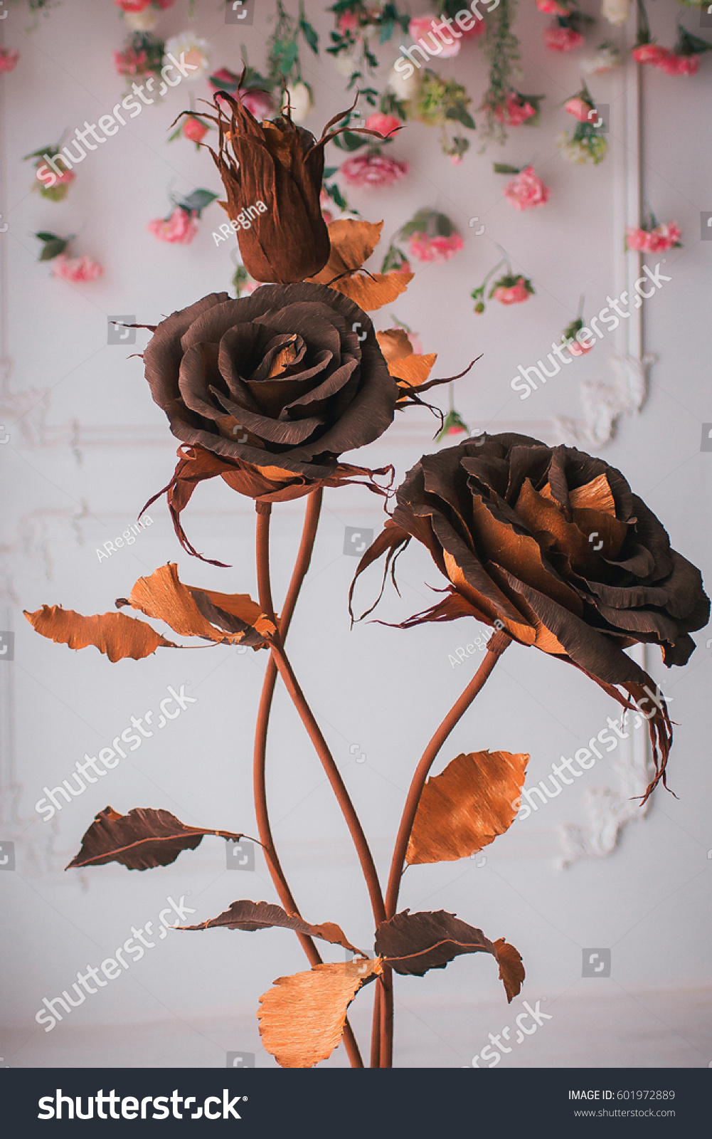 Huge Paper Flower Gold Brown Color Stock Photo Edit Now 601972889
