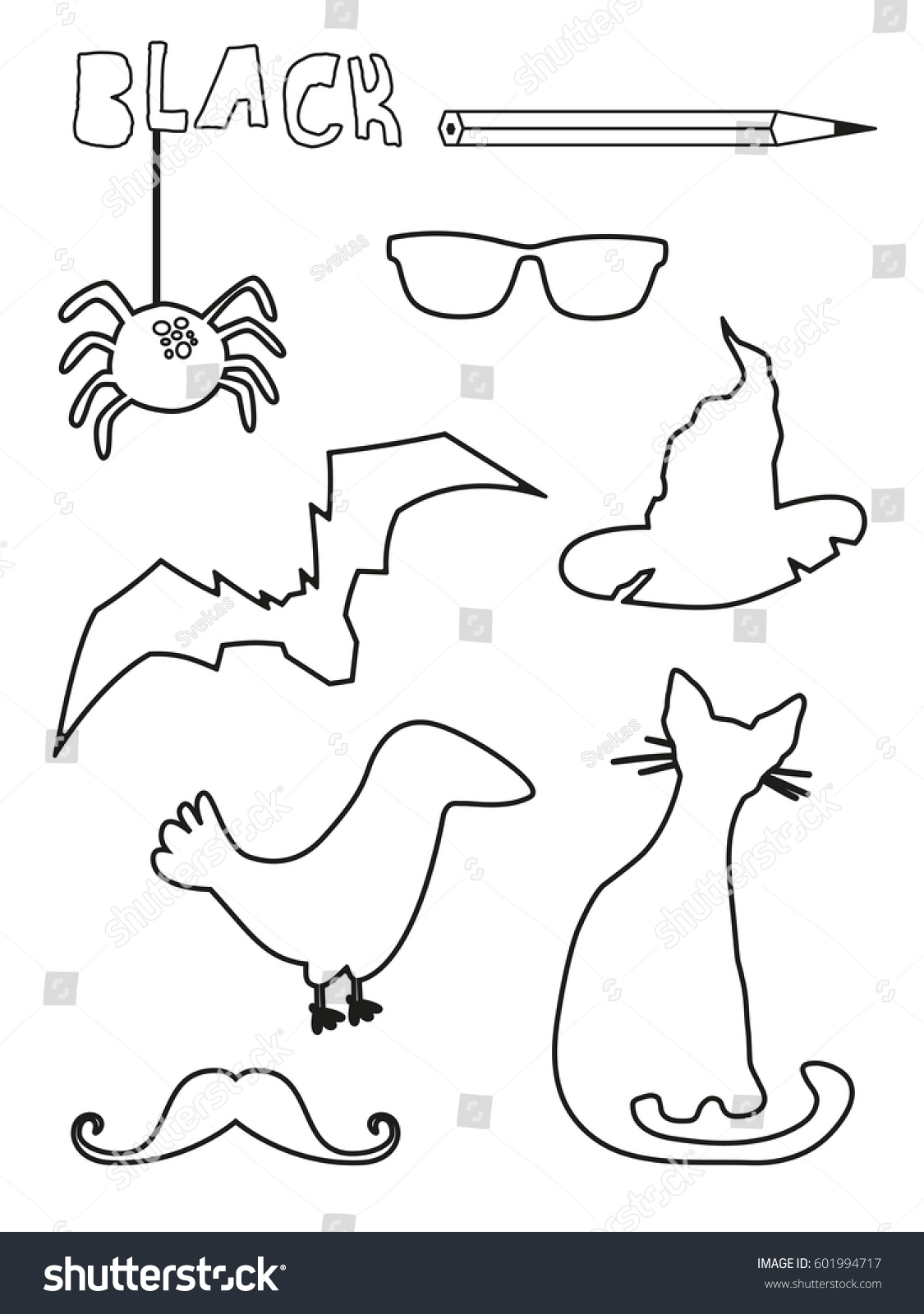 worksheet Spider Worksheets coloring page black things set single stock vector hd royalty free color worksheets spider bat glasses