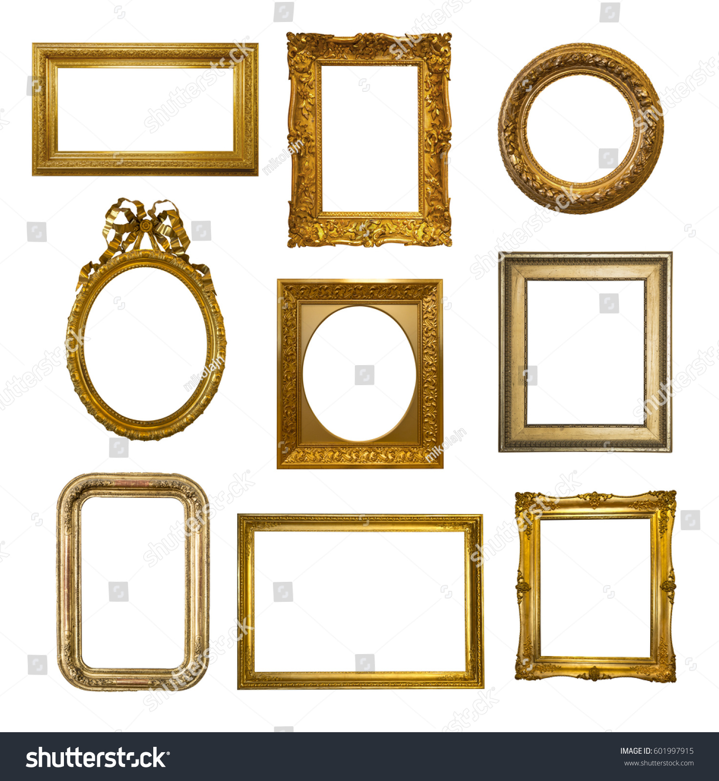 Set Gilded Antique Frames Isolated On Stock Photo 601997915 ...