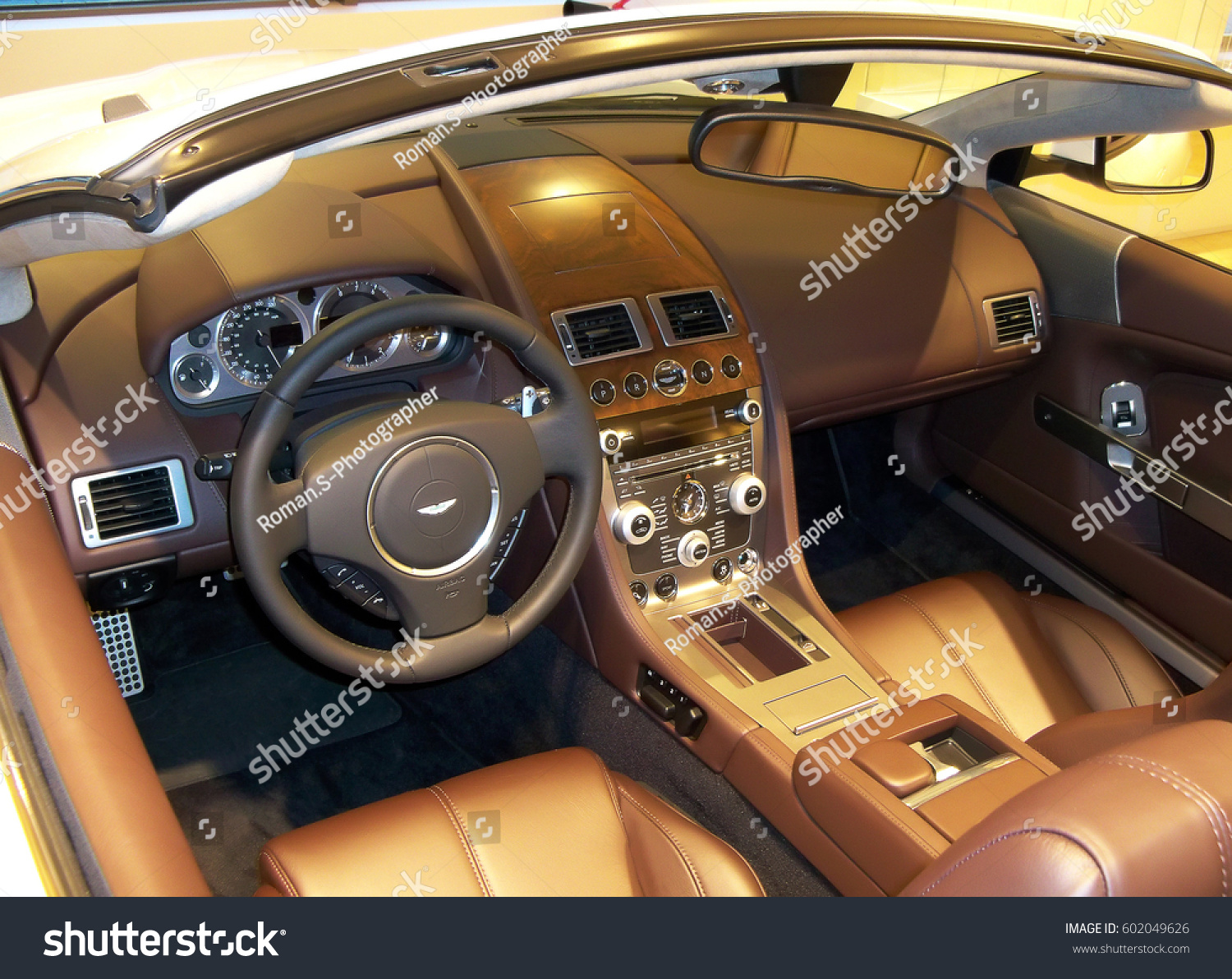 view interior modern automobile showing dashboard stock photo (edit