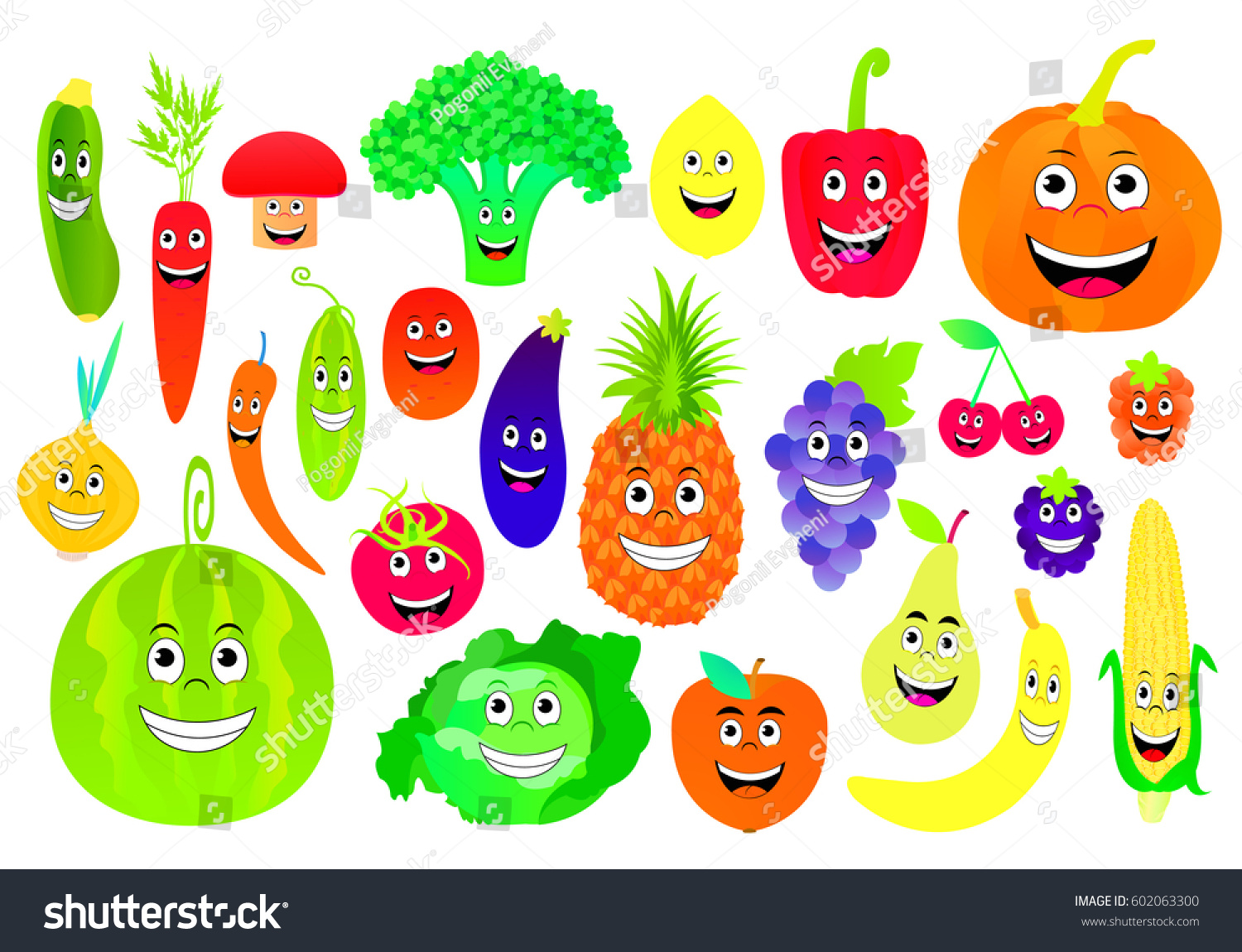 vector illustration cartoon fruits vegetables stock vector