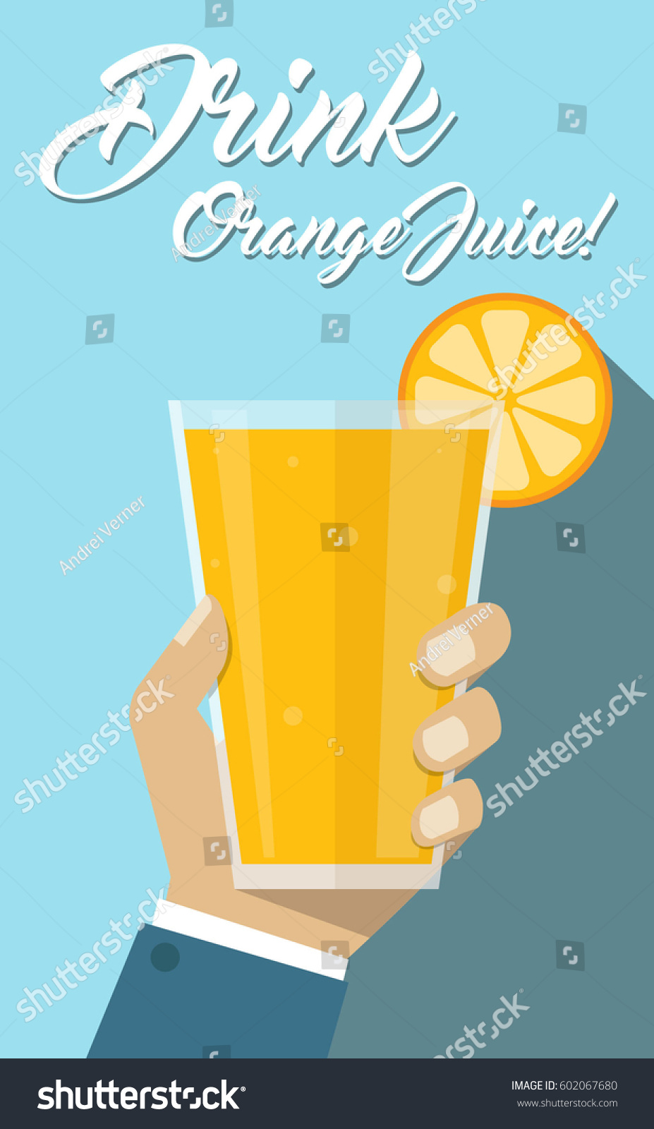Glass juice cups design - Man Hand Holding Fruit Orange Juice Glass Cup Drink Healthy Beverage Flyer Poster Simple