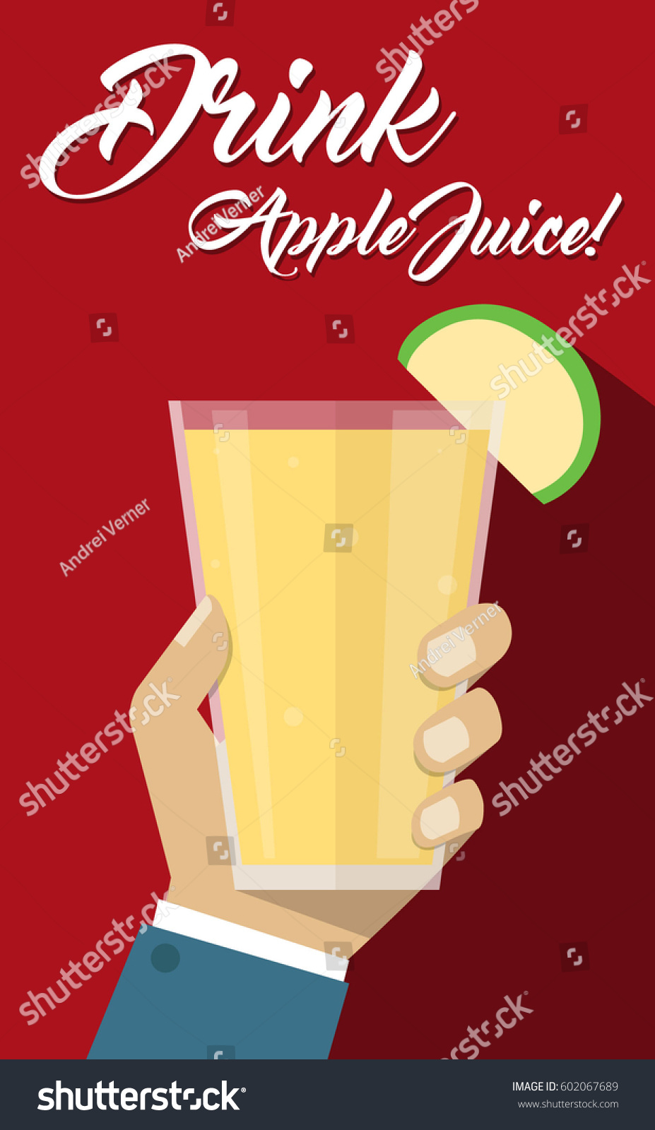 Glass juice cups design - Man Hand Holding Fruit Apple Juice Glass Cup Drink Healthy Beverage Flyer Poster Simple