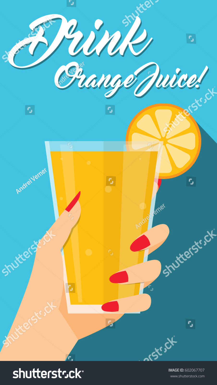 Glass juice cups design - Woman Hand Holding Fruit Orange Juice Glass Cup Drink Healthy Beverage Flyer Poster Simple