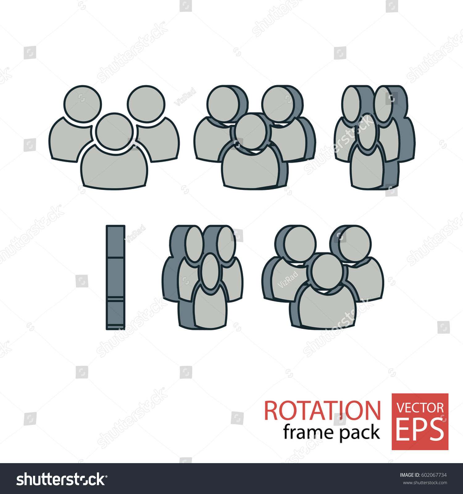 People Rotating Icon Set Frames Animation Stock Vector (Royalty Free ...