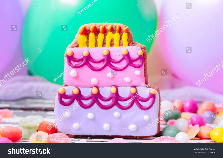 Gingerbread Birthday Cakes Stock Photo Edit Now 602079263