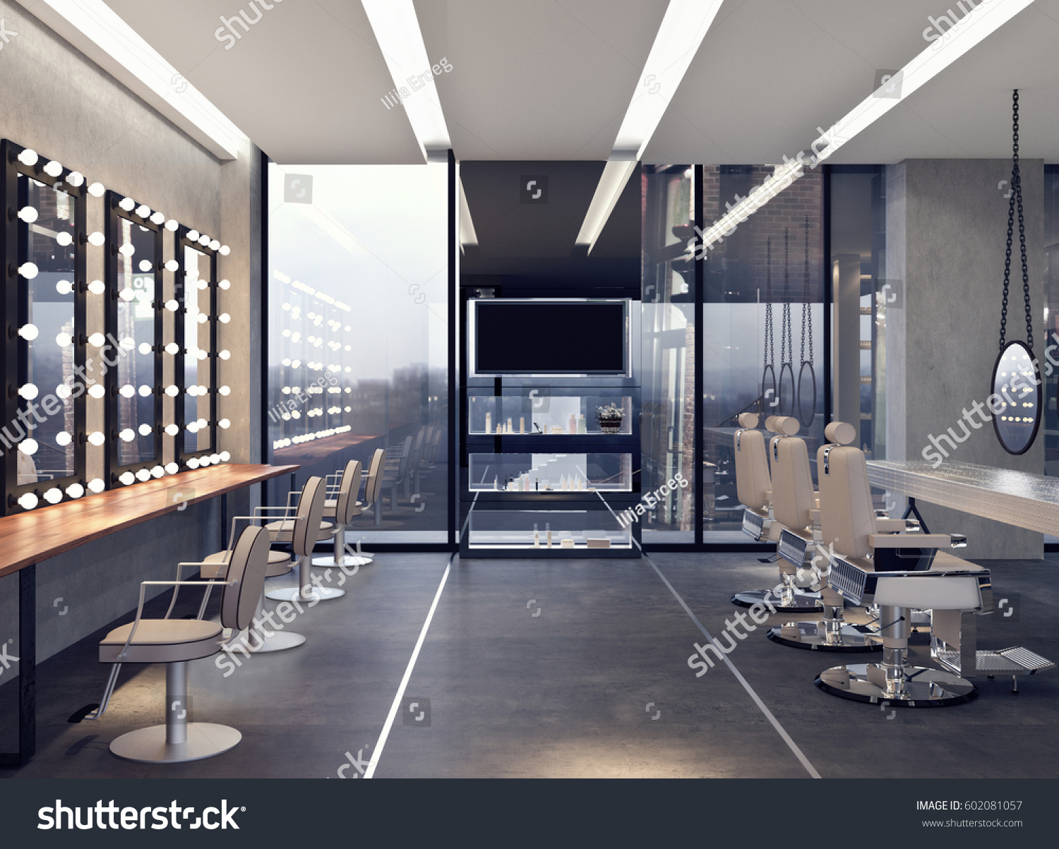 Modern Interior Design Salon 3d Rendering Stockillustration ...