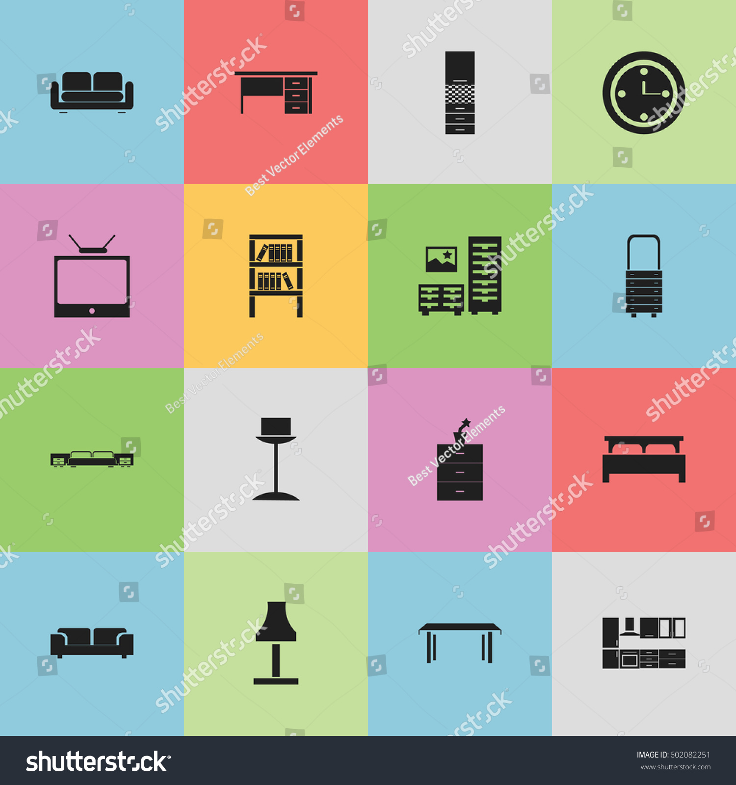 Set Editable Interior Icons Includes Stock Vector