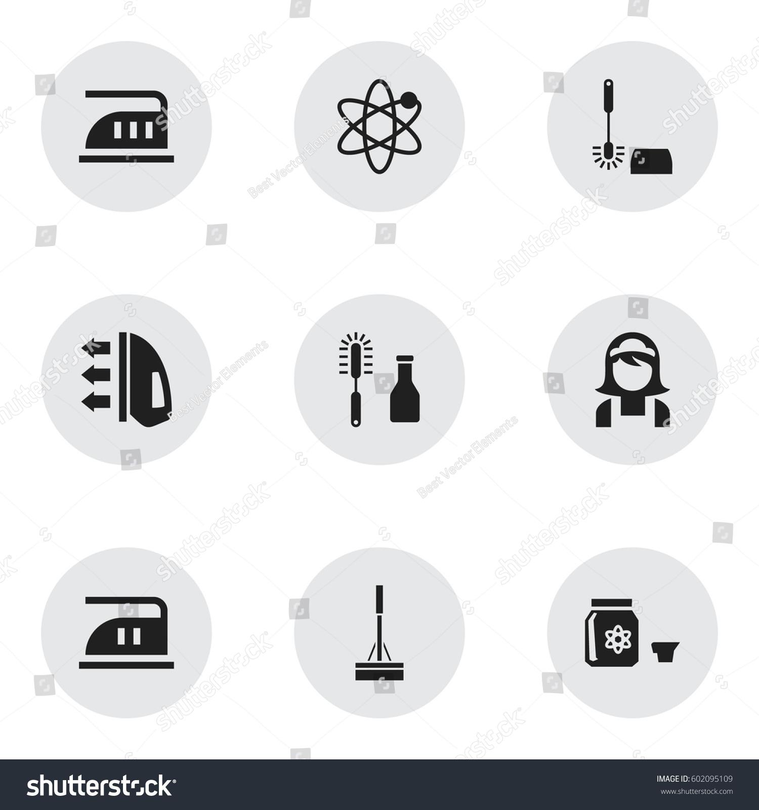 Set 9 editable drycleaning icons includes stock vector 602095109 set of 9 editable dry cleaning icons includes symbols such as smoothing hazard buycottarizona Choice Image