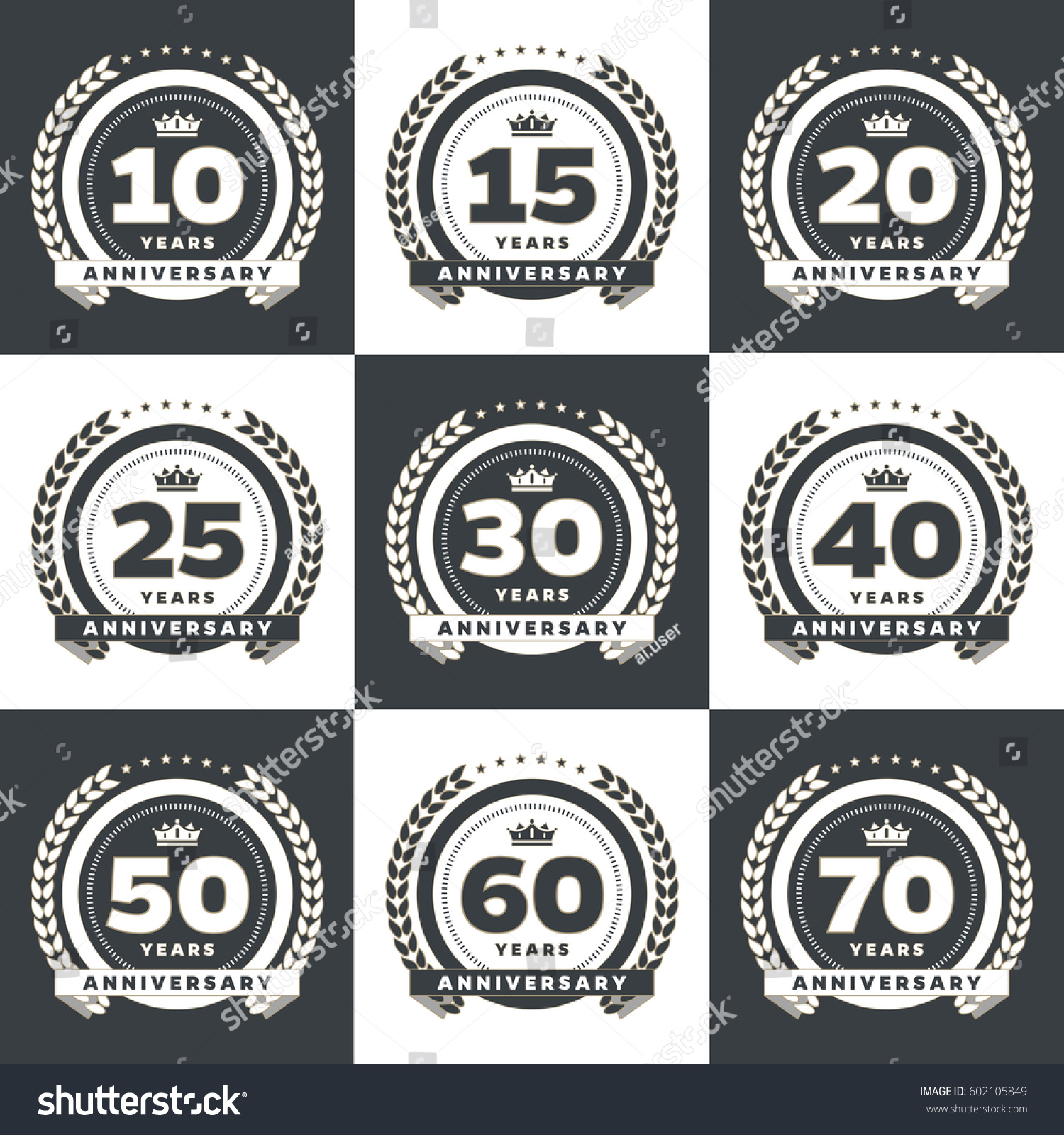 Vector Set Anniversary Symbols 10th 15th Stock Vector Royalty Free