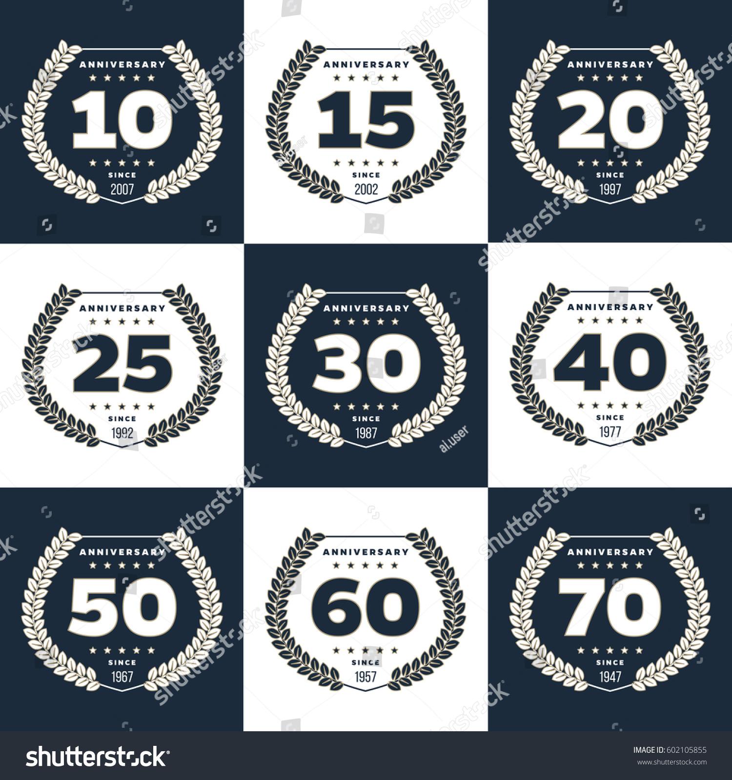 Vector Set Anniversary Symbols 10th 15th Stock Vector 602105855