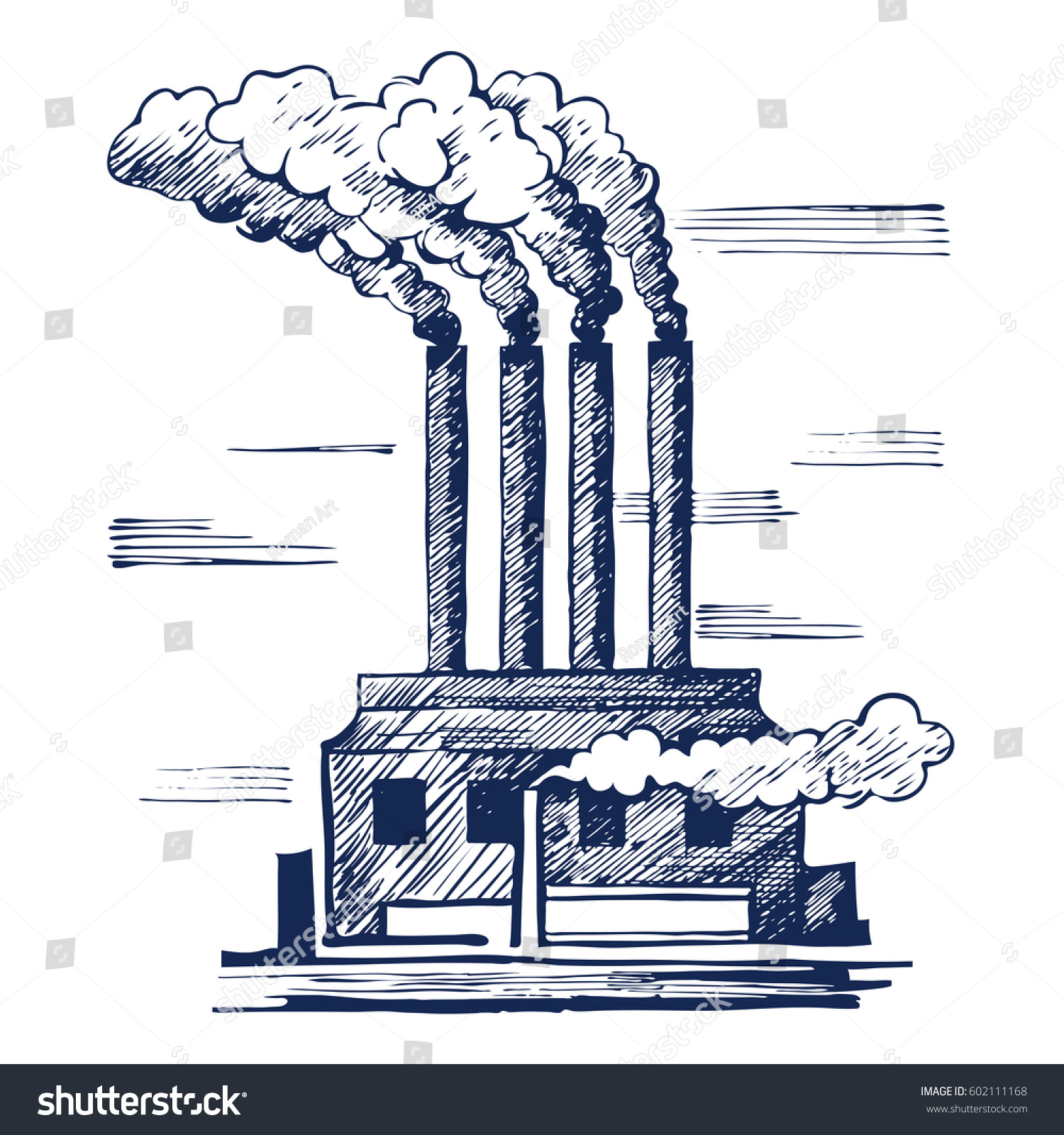 Air ecology and the problem of air pollution harmful gas emissions by industry vector illustration sketch doodle style vector