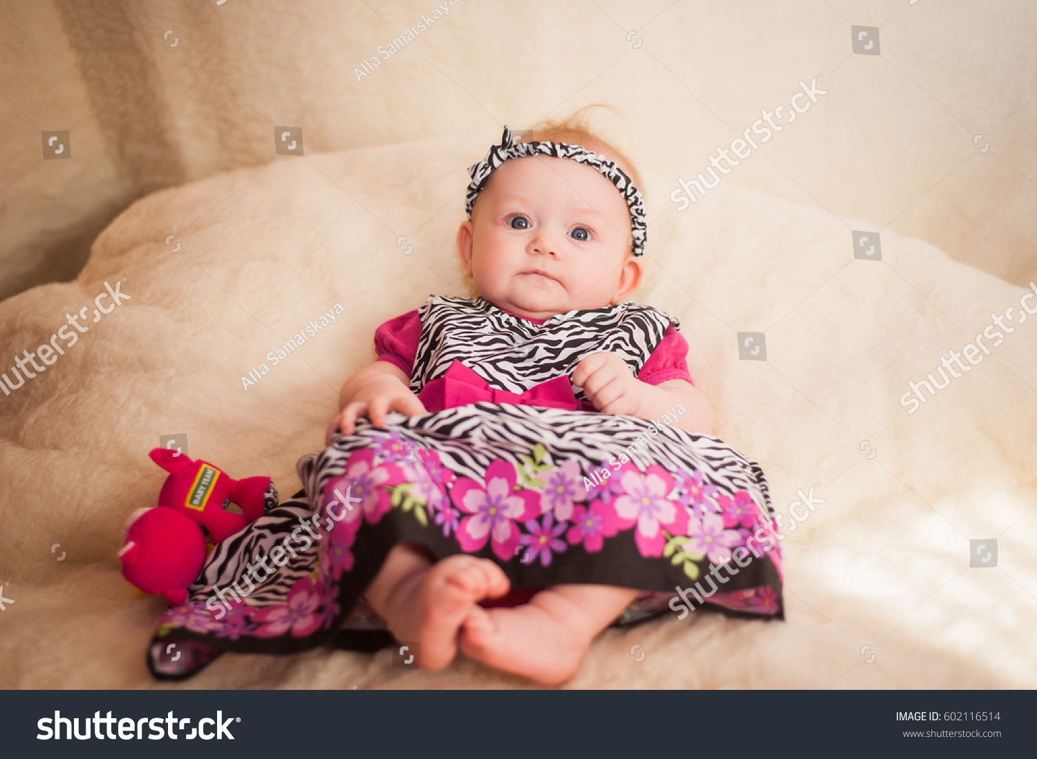 small baby girl photographed beautiful dress stock photo (edit now