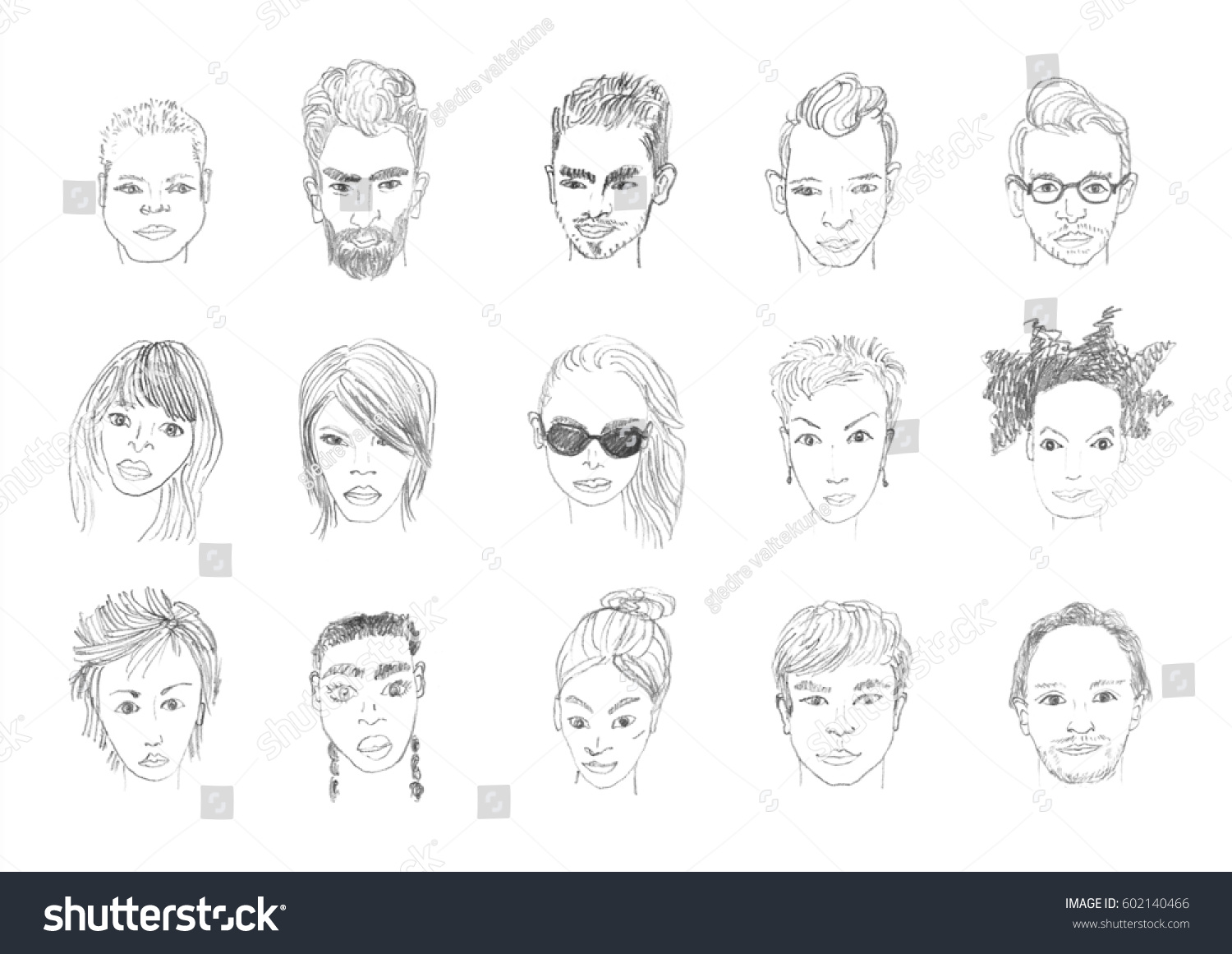 People faces pencil drawing men and women faces hand drawing cartoon pencil sketching