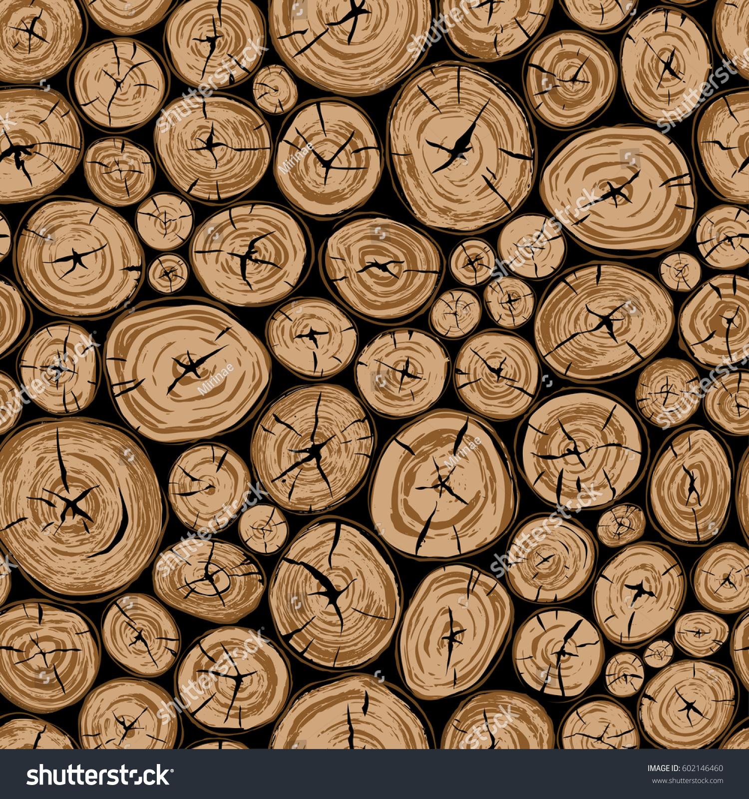 Pile Wood Round Organic Shape Elements Stock Vector