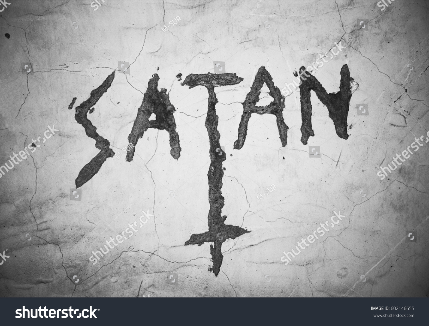 Text satan upturned christian cross writing stock photo 602146655 text satan an upturned christian cross writing and symbol on the cracked wall sign biocorpaavc Choice Image
