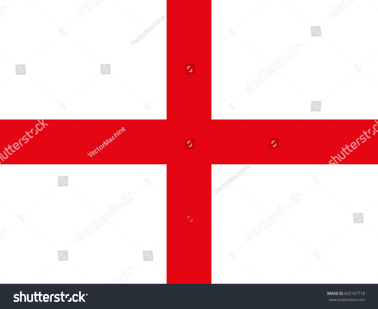 Flag England White Background Red Cross Stock Vector Hd Royalty