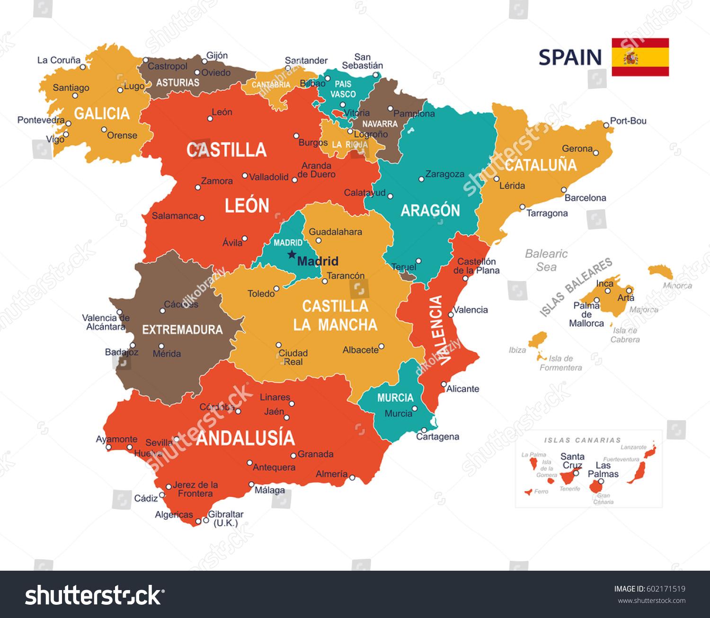 Vector Illustration Spain Map Stock Vector 602171519 Shutterstock