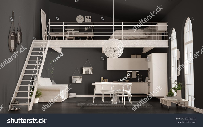 Ilustracoes Stock Imagens E Vetores De Scandinavian Minimalist Loft Oneroom Apartment White 602183219