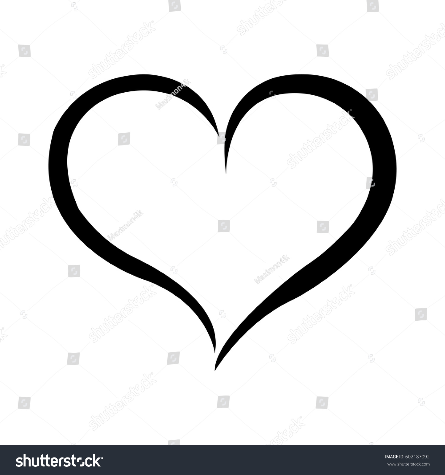 Hand drawn heart vector calligraphy stock