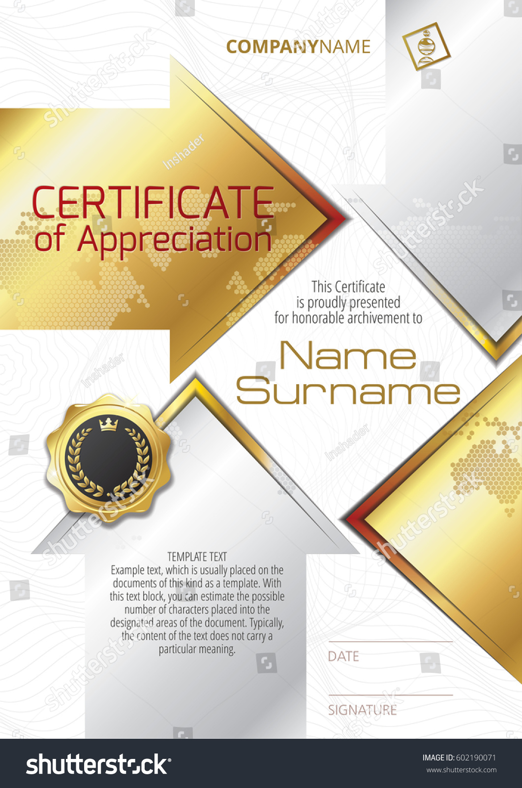 Template certificate appreciation golden badge golden stock vector template of certificate of appreciation with golden badge and golden elements in the form of arrows yadclub Images