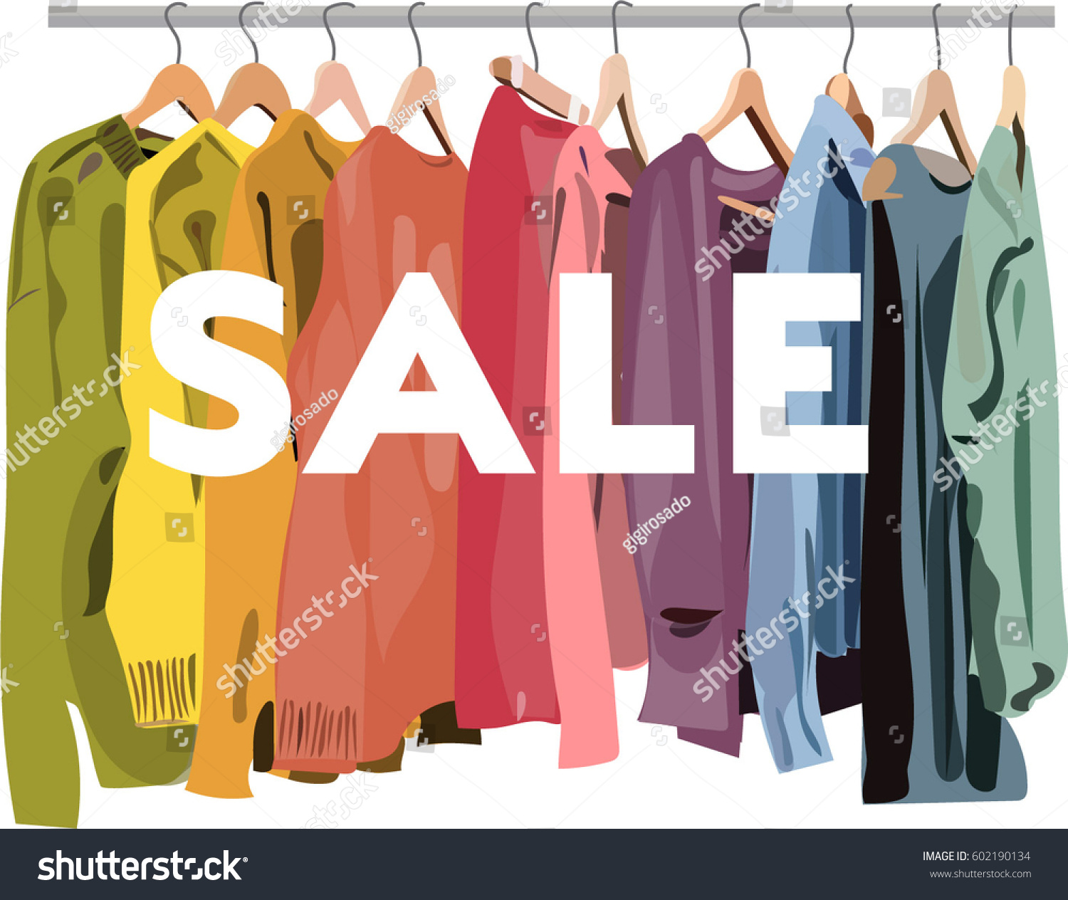 fashion retail shop sale discount signfor website leaflets flat design with text clothes