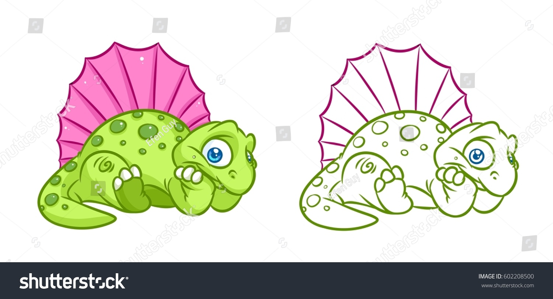 Dinosaur Dimetrodon Coloring Page Cartoon Illustrations Stock ...
