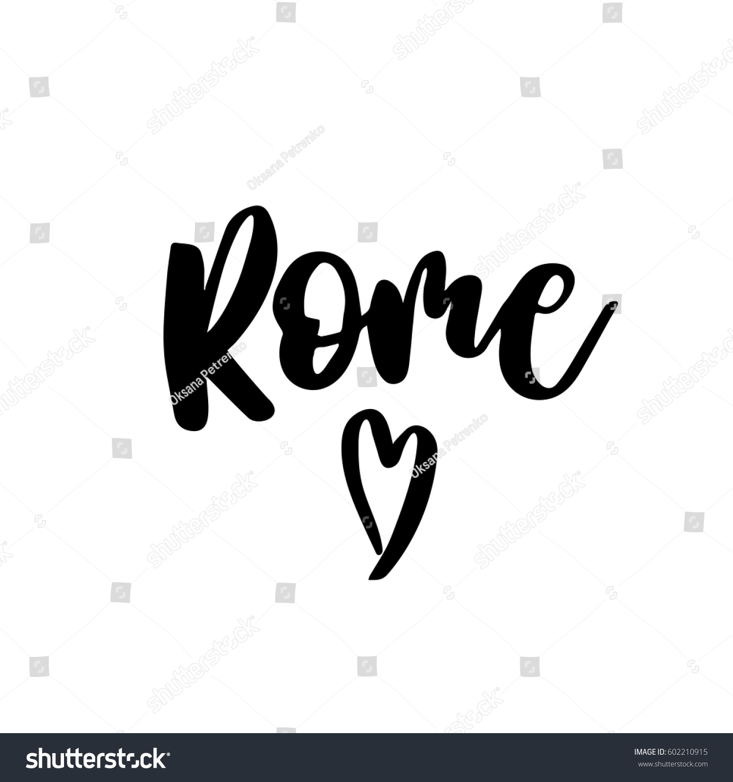 Rome capital italy ink hand lettering stock vector