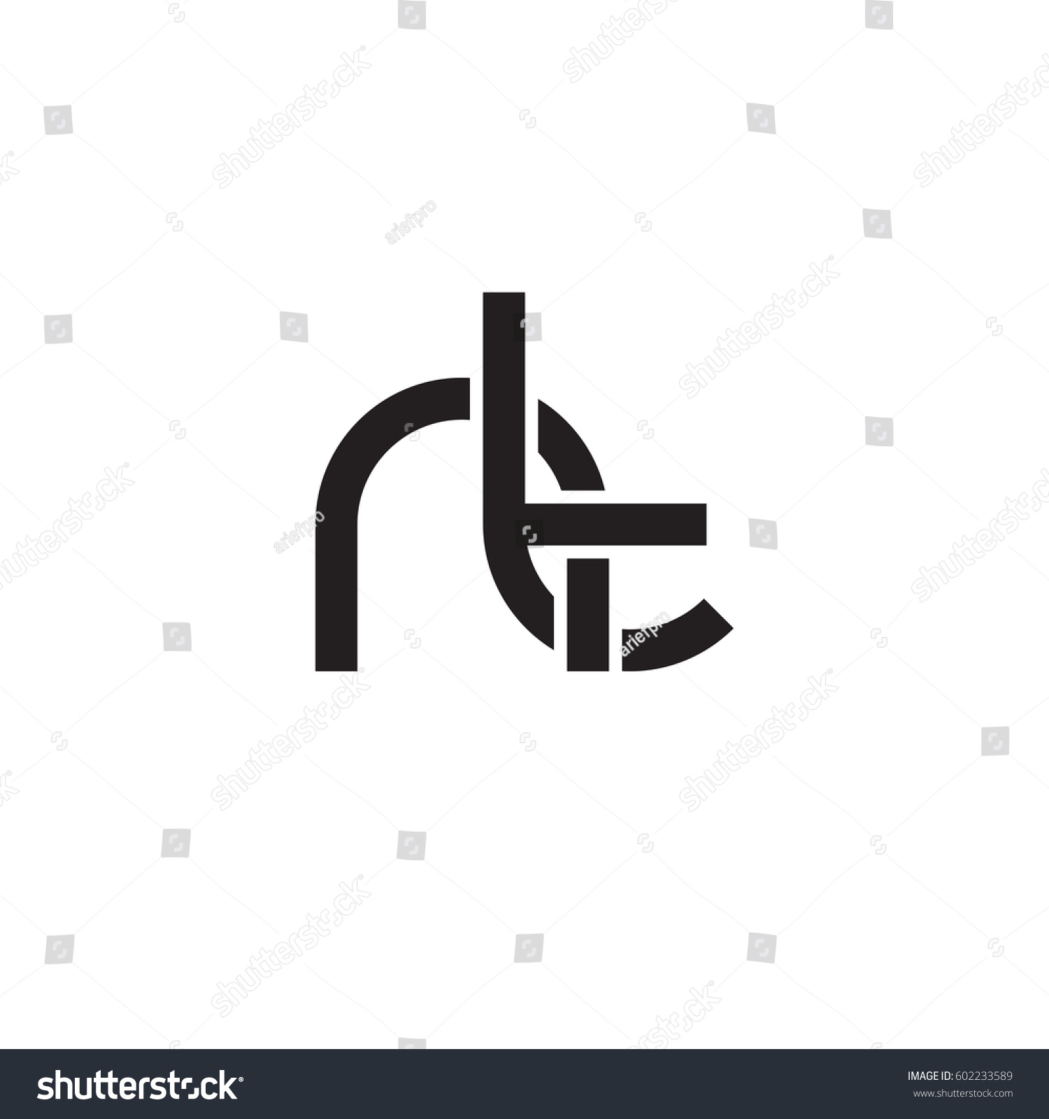 Initial Letters Nt Round Overlapping Chain Stock Vector Royalty