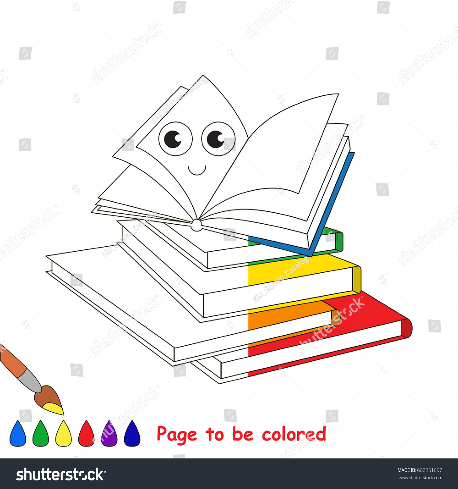 Happy Books Coloring Book Educate Preschool Stock Vector 602251697