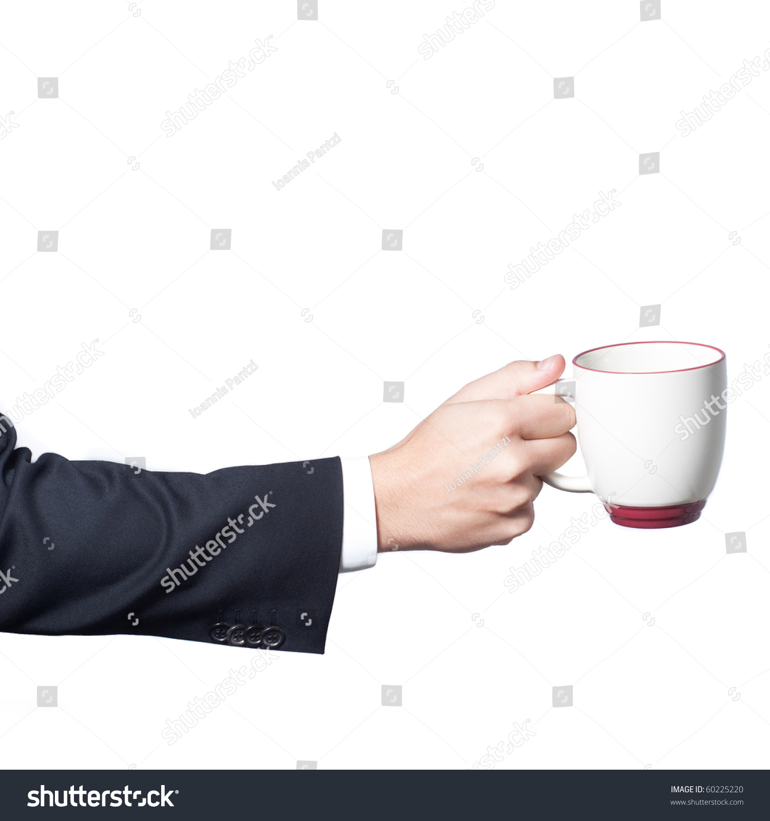 Technology Management Image: Businessman Hand Holding A Cup Of Coffee On White