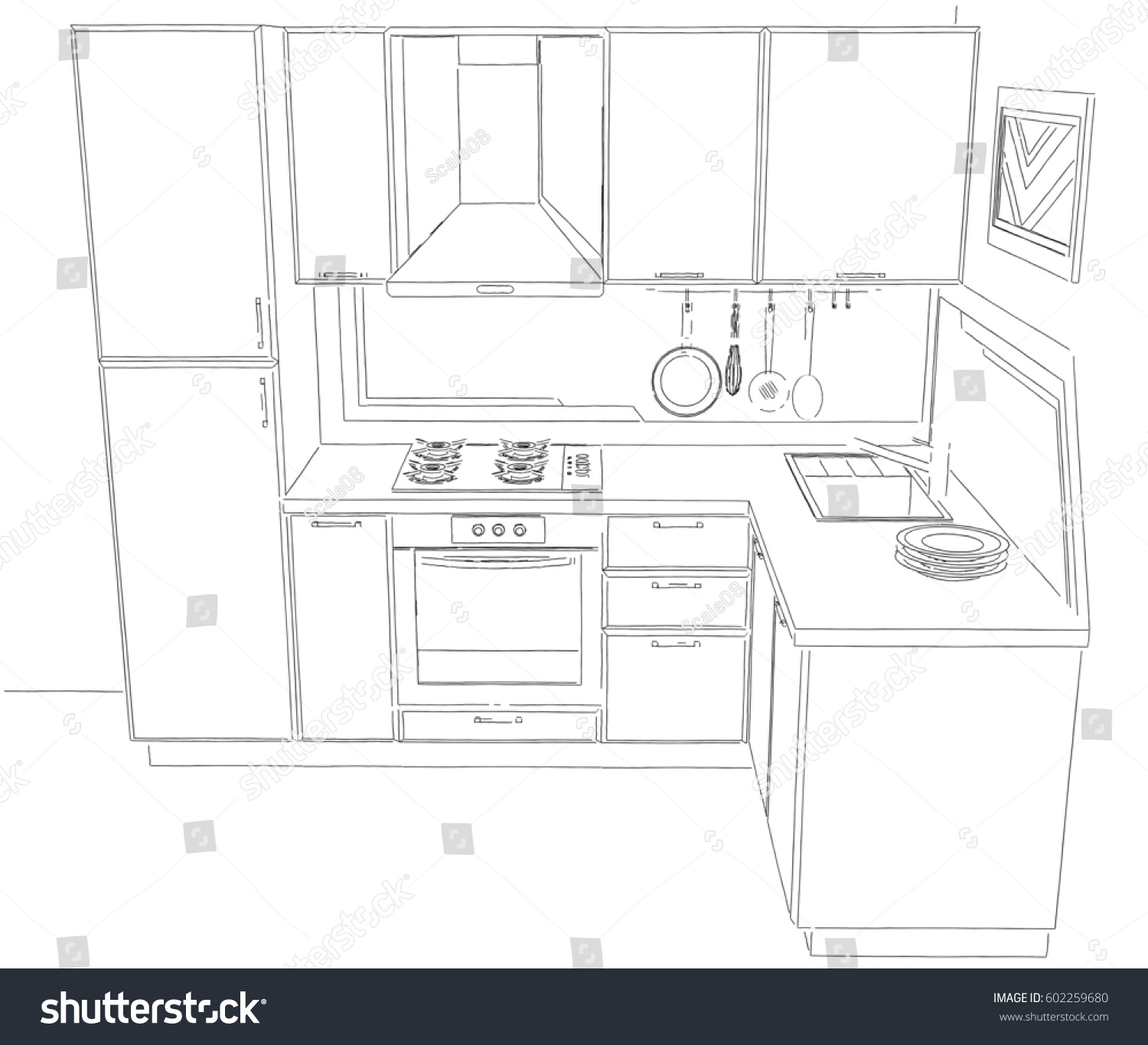 Modern corner kitchen interior drawing with built in fridge top perspective view