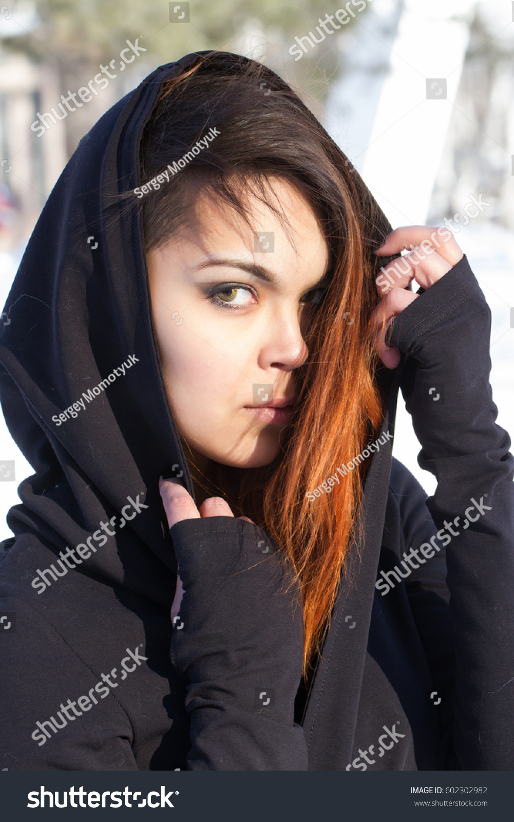 Young Asian Girl Dyed Hair Hides Stock Photo Edit Now 602302982